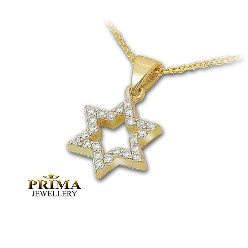שרשרת ותליון מגן דוד קטן משובץ יהלומים בזהב צהוב