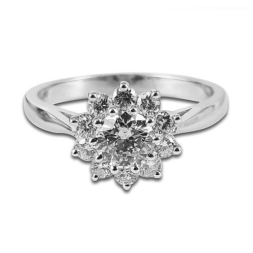 טבעת יהלומים בזהב לבן