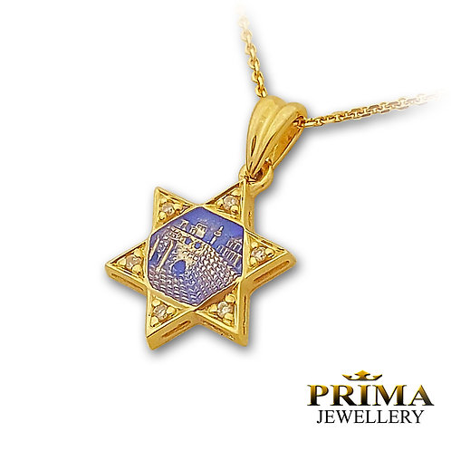 שרשרת ותליון מגן דוד עם יהלומים בזהב צהוב ואמייל