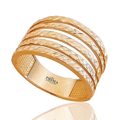 טבעת זהב צהוב רחבה לאישה, טבעת שורות יוקרתית