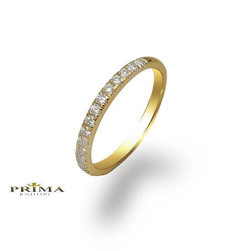 טבעת פס יהלומים דקה בזהב צהוב משובצת יהלומים 0.25 קראט