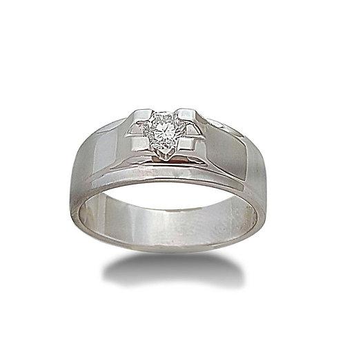 טבעת יהלום לגבר בזהב לבן