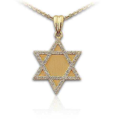 תליון מגן דוד בזהב צהוב משובץ יהלומים