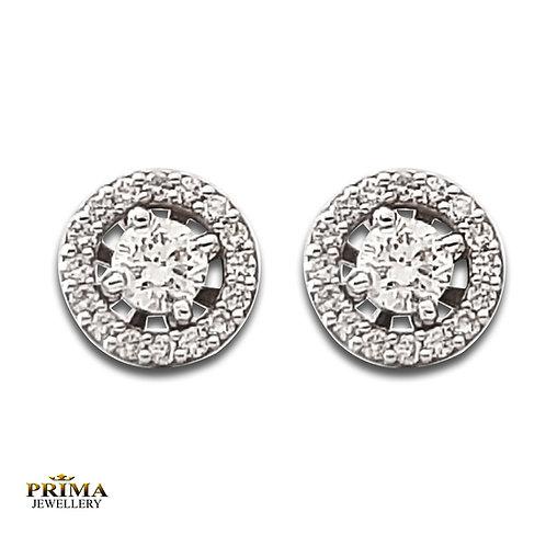 עגילי יהלום צמודים עם אבן מרכזית ויהלומים קטנים