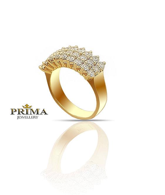 טבעת משובצת 1.50 קראט יהלומים בזהב צהוב