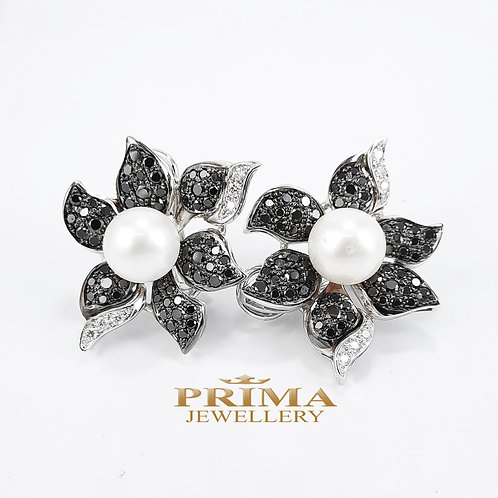 עגילי פנינה עם יהלומים שחורים בזהב לבן