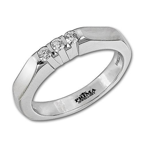 טבעת 3 יהלומים בזהב לבן