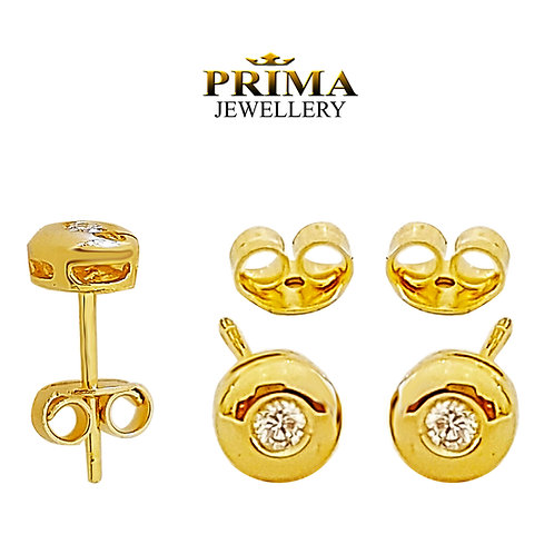 עגילי זהב צמודים משובצים יהלומים 0.30 קרט