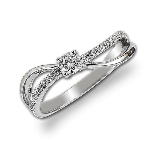 טבעת אירוסין בזהב לבן משובצת יהלומים