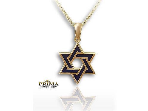 שרשרת מגן דוד בזהב צהוב בשילוב אמאייל כחול