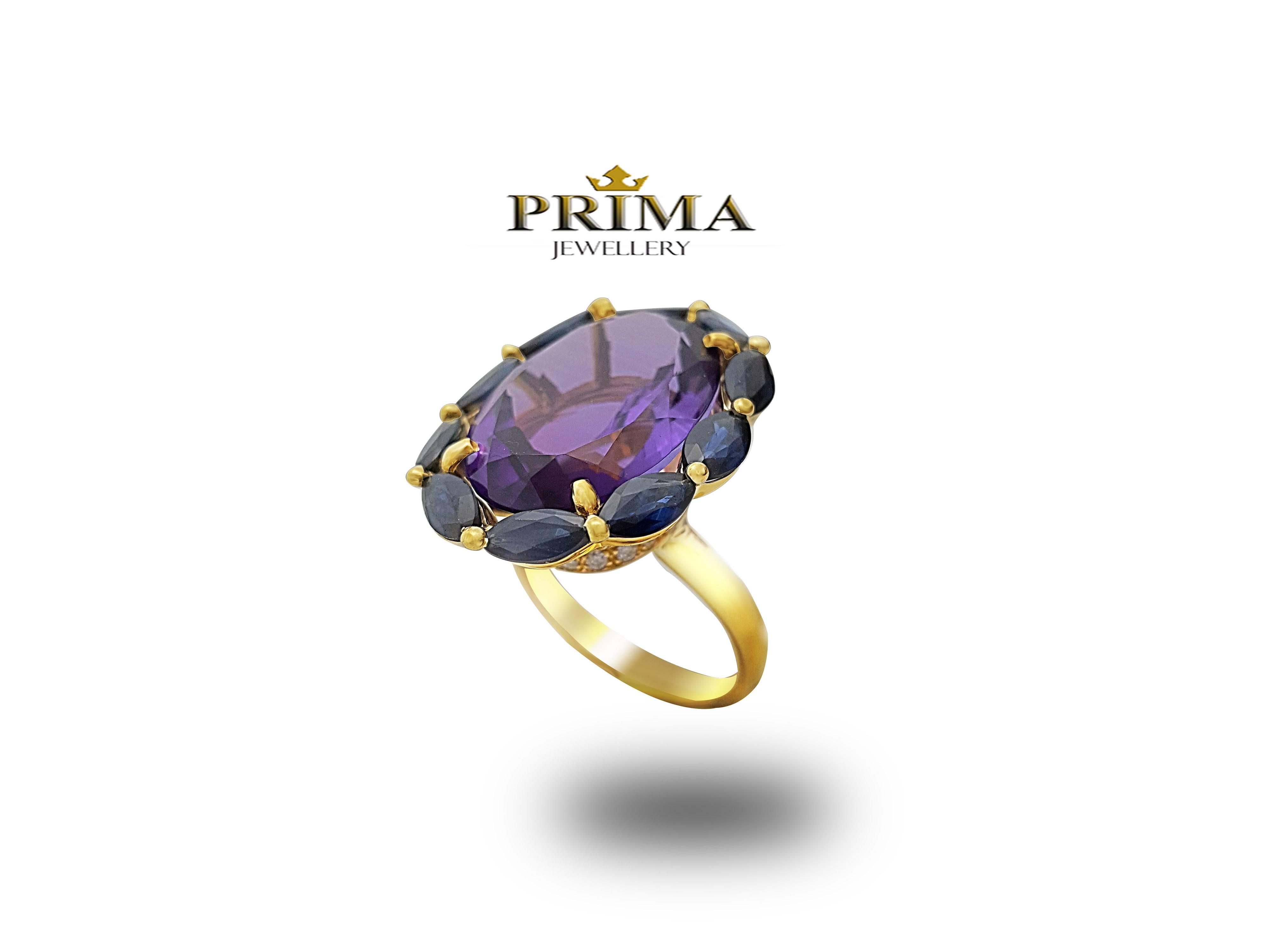 טבעת אמטיסט וספירים