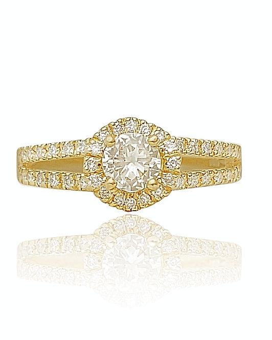 טבעת אירוסין משובצת 0.52 קראט יהלומים בזהב צהוב דגם הלו