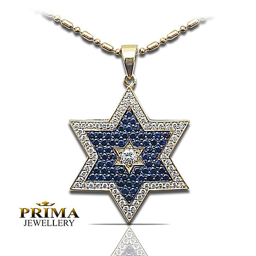 שרשרת ותליון מגן דוד בזהב צהוב משובץ יהלומים וספירים