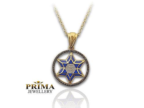תליון מגן דוד משובץ יהלומים שחורים עם עיטורי אמאייל כחול