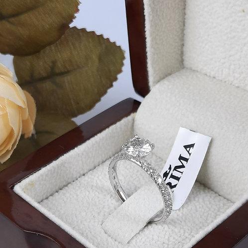 טבעת אירוסין זהב לבן משובצת יהלומים 1.55 קראט