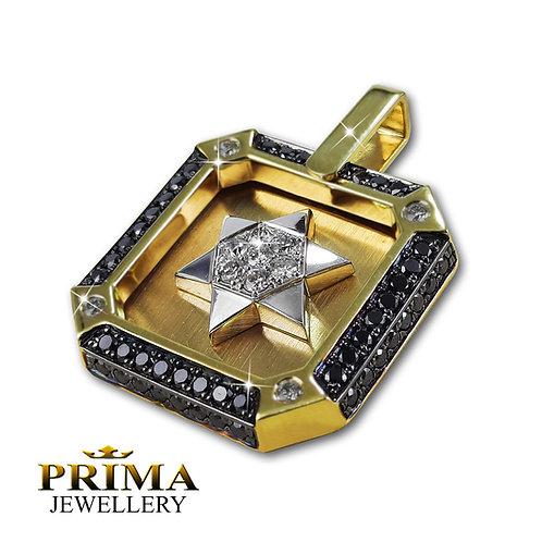 שרשרת ותליון מגן דוד זהב צהוב משובץ יהלומים שחורים לגבר