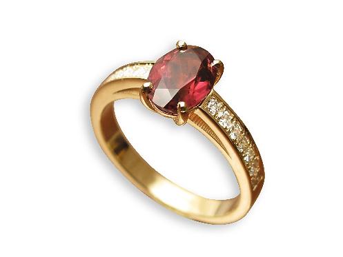 טבעת טורמלין ורוד ויהלומים