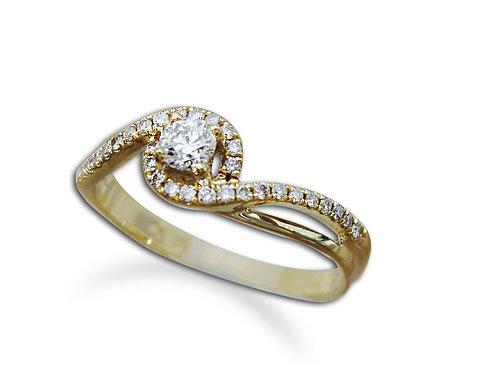 טבעת אירוסין עדינה משולבת יהלומי צד