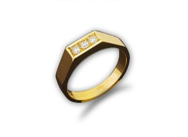 טבעת לגבר 3 יהלומים