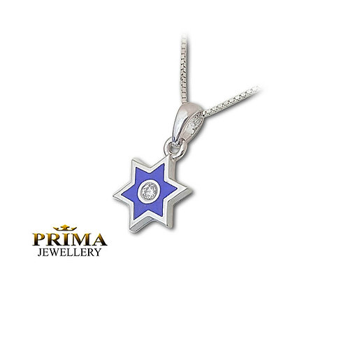 שרשרת מגן דוד בזהב לבן משובצת יהלום ובציפוי אמאייל כחול