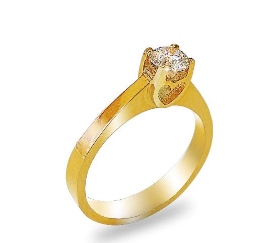 טבעת אירוסין זהב צהוב 0.50 קראט יהלום