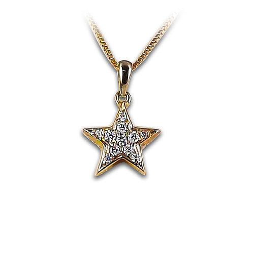 תליון כוכב משובץ יהלומים בזהב צהוב 14 קרט