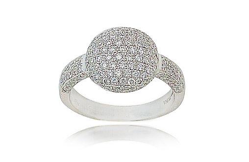טבעת יהלומים בשיבוץ פווה בזהב לבן 18 קרט
