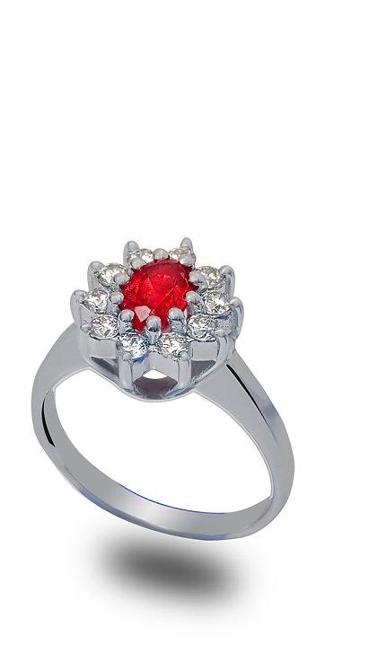 טבעת דיאנה בזהב לבן משובצת רובי ויהלומים