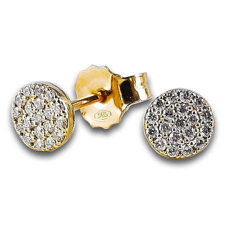 עגילי זהב 14K צמודים לאוזן משובצים יהלומים 0.20 CT