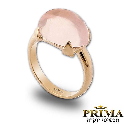 טבעת רוז קוורץ, טבעת זהב לאישה משובצת אבן חן ורודה