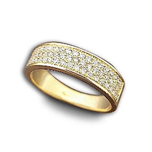 טבעת לגבר 3 שורות יהלומים