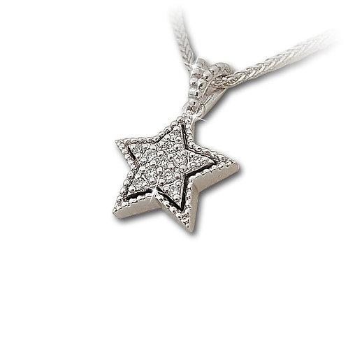 תליון כוכב משובץ יהלומים בזהב לבן