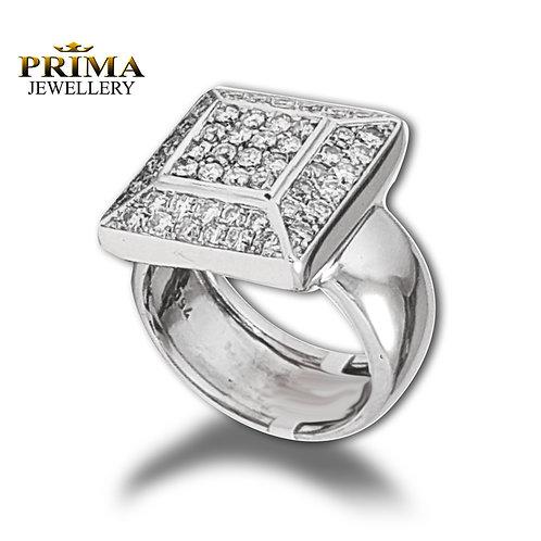 טבעת יהלומים יוקרתית בזהב לבן 18 קרט