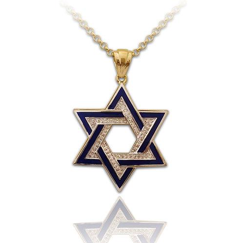 שרשרת ותליון מגן דוד לגבר בזהב צהוב משובץ יהלומים ומצופה אמייל כחול