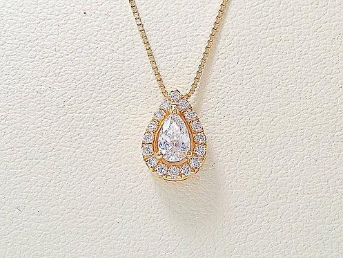תליון יהלום טיפה תליון יהלומים זהב צהוב מתנה לאישה