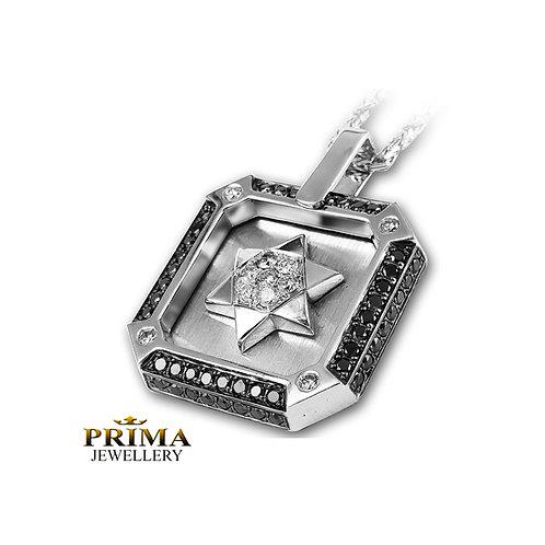 שרשרת ותליון מגן דוד זהב לבן משובץ יהלומים שחורים לגבר