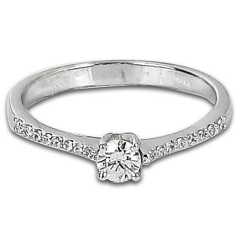 טבעת אירוסין בזהב לבן משובצת יהלומי צד