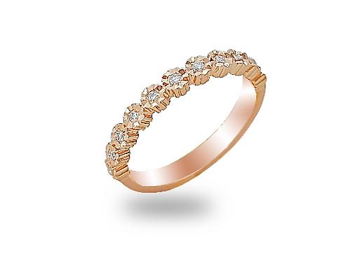 טבעת פס יהלומים בזהב ורוד