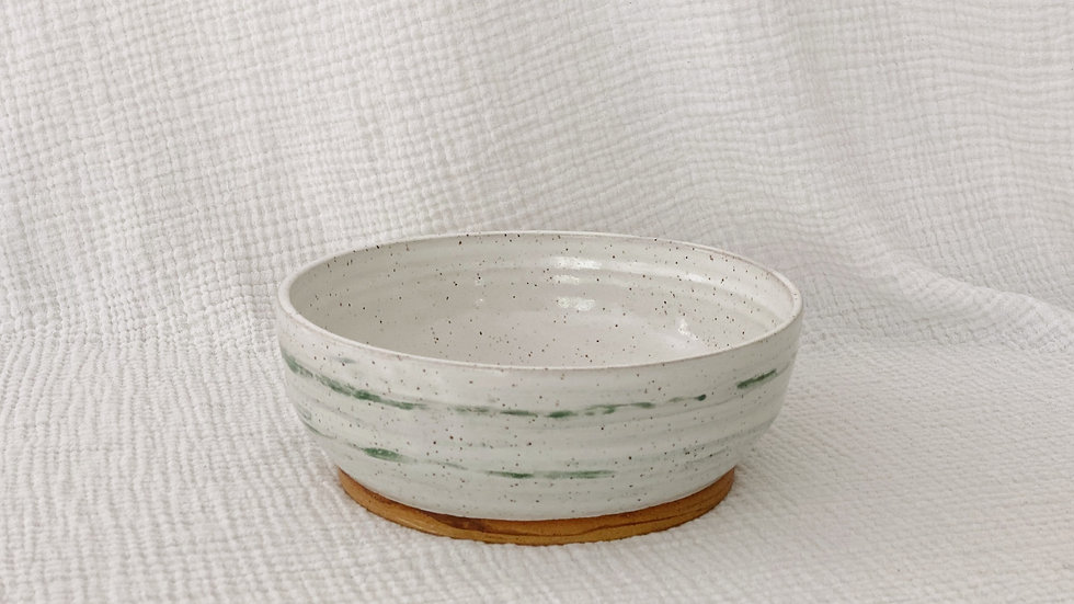 White and Green Speckled Bowl