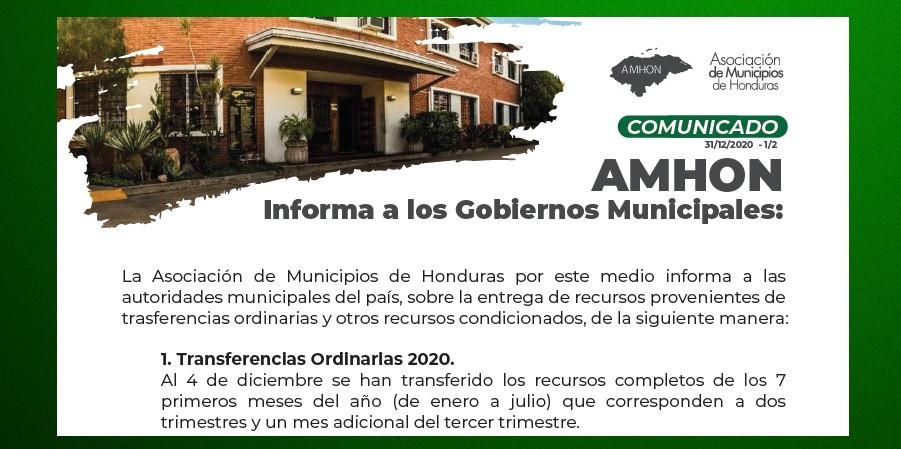 COMUNICADO: ENTREGA DE RECURSOS PROVENIENTES DE TRANSFERENCIAS ORDINARIAS Y OTROS RECURSOS CONDICIONADOS