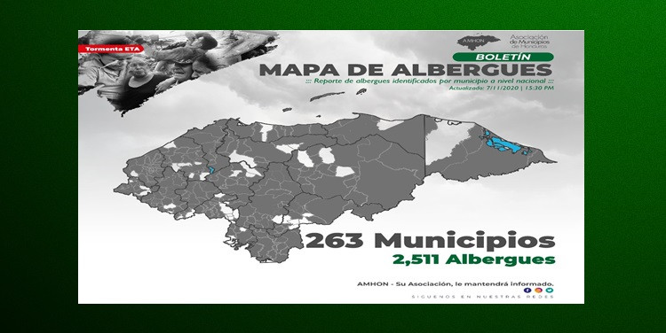 2,511 ALBERGUES DISPONIBLES PARA LAS PERSONAS AFECTADAS POR EL HURACÁN ETA