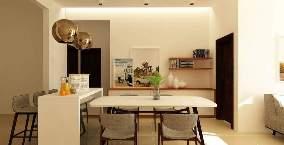 Modern urban interior design dining area with natural light