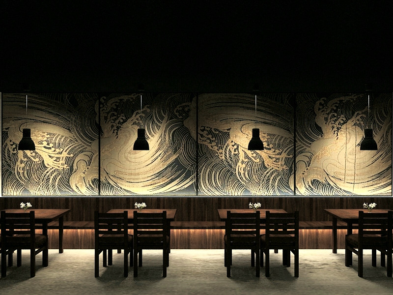 Appealing japanese restaurant in dark interior concept