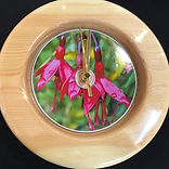 Manx Fuchsia Wood Turned Pine Clock