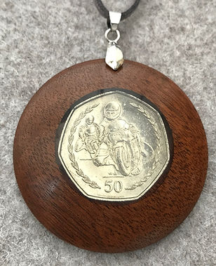 Manx Coinage Pendant  Motorcycles