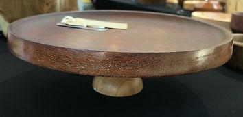 Oak & Mahogany Pedestal Platter