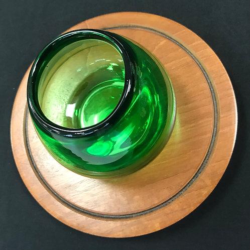 Mahogany & Green Glass Tea-Light