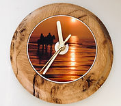 Burr Oak Clock - Horses at Sunset