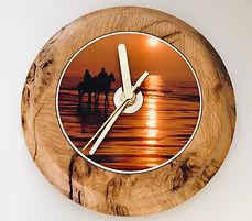 Burr Oak Clock - Horses at Sunset