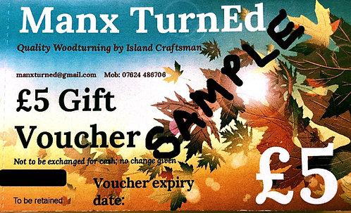 £5.00 Manx TurnEd GIFT VOUCHERS